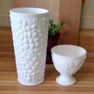 Milk Glass Vase and Small Planter